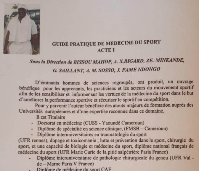Sport : Dédicace imminente du « Guide pratique de médecine du sport ACTE 1 » par le Dr. Bissau Mahop